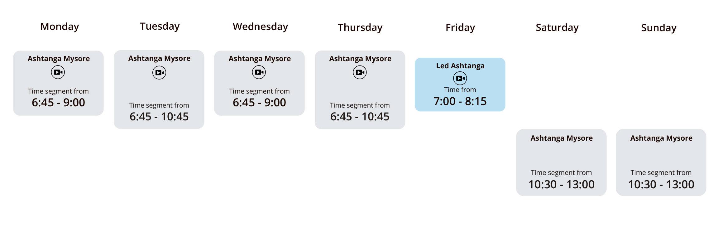 Timetable - morning | The Mysore Shala